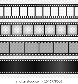 Realistic film strips collection on transparent background. Old retro cinema strip. Vector photo frame.