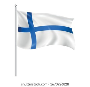 Realistic Finland Flag with Flagpole