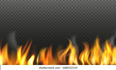 Realistic fire background. Flame isolated on transparent background. Burning light vector illustration