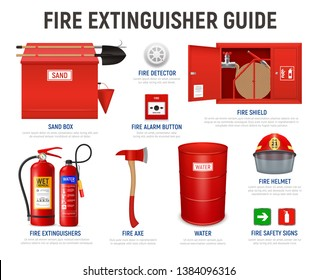 Realistic fire extinguisher guide with editable text captions and isolated images of various fire fighting appliances vector illustration