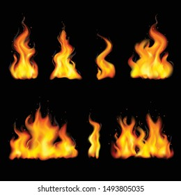 Realistic fire flame set with different shapes isolated and colored on black background vector illustration