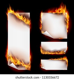 Realistic Fire Flames Banner Set with Spurts of Flame. Heat and Burn, Blaze and Energy on Black Background