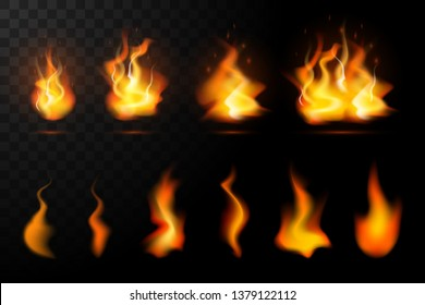 Realistic fire flames set isolated on transparent background. Special burning light effect with sparks collection for design and decoration. Vector Illustration