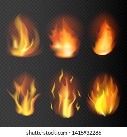 Realistic fire flames set on transparent background. 3D bonfire on transparent background isolated vector illustration
