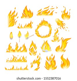Realistic fire flames set. Flames red and orange hot flaming heat explosion cartoon, hot flame energy, fire animation vector illustration