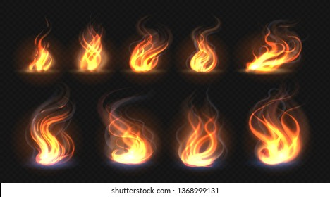 Realistic fire flames. Transparent torch effect, abstract red light flare, campfire design template. Vector hot glowing flaming elements