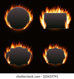 Realistic Fire Label Set on Dark Background Vector Illustration EPS10