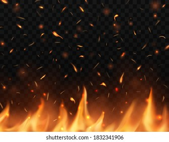 Realistic fire tongues with sparks, vector glow shining flare, burning campfire flame with particles flying up, embers and cinder. Burning 3d bonfire, blaze effect, Heat from blacksmith works or hell
