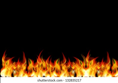Realistic fire vector on black background