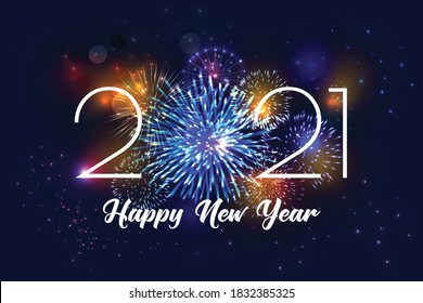 Realistic fireworks 2021 background composition of editable text and firework display images with colourful glowing particles vector illustration