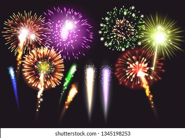 Realistic fireworks icon set in different sizes shapes and colors illuminated and bright vector illustration