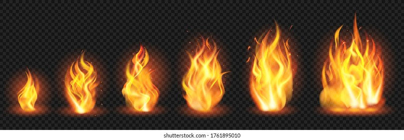 Realistic flame concept. Flaring fire blaze, various size burning spurts of flame, growing wildfire flames isolated vector illustration set. Blaze burn, hot flaming, bonfire ignite transparent