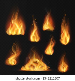 Realistic flame. Fireball warm fire effect abstract torch red flames flaming isolated vector collection