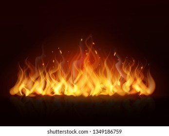 Realistic flame line. Burning fiery wall hot fireplace flames warm fire blazing bonfire effect red flaming vector background