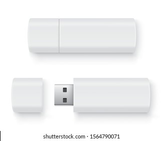 Realistic flash drive mockup set, open and closed. White mockup with shadow on white background - stock vector.