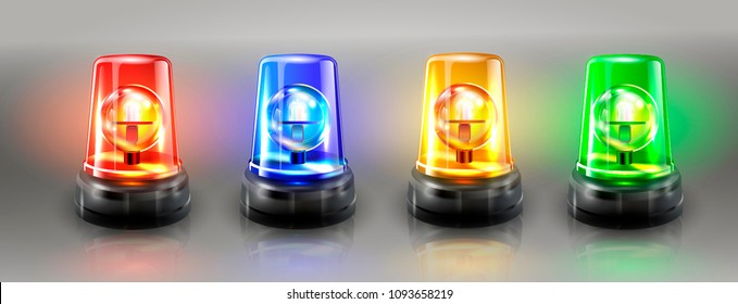 Realistic Flasher Siren Set Vector. Red, Orange, Green, Blue. 3D Realistic Object. Light Effect. Rotation Beacon. Emergency Flashing Siren. Isolated On Gray Background Illustration