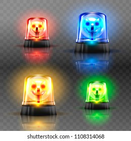 Realistic Flasher Siren Set Vector. Red, Orange, Green, Blue. 3D Realistic Object. Light Effect. Rotation Beacon. Emergency Flashing Siren. Isolated On Transparent Background Illustration