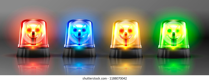 Realistic Flasher Siren Set Vector. Red, Orange, Green, Blue. 3D Realistic Object. Light Effect. Rotation Beacon. Emergency Flashing Siren. Isolated On Gray Background Illustration.