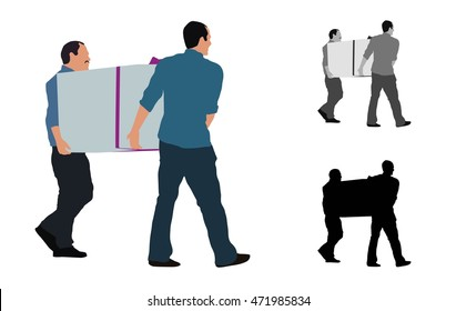 Realistic flat colored illustration of two men carrying a big box