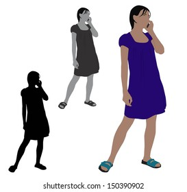 Realistic flat colored illustration of a young woman