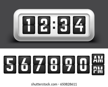 Realistic Flip clock with Flipping Numbers set. Vector Illustration of Mechanical Timetable.