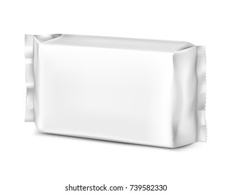 Realistic flow pack isolated on white background. Vector illustration. It can be used in the adv, promo, package, etc.