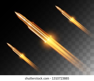 Realistic flying bullet with a flamethrower shot isolated on transparent background, set of bullet shots in motion, vector illustration. Shot with a pistol