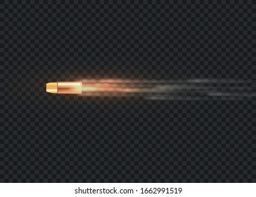 Realistic flying bullet in motion. Smoke traces isolated on transparent background. Handgun shoot trails. Gunshots, bullet in motion, military smoke trails. Vector illustration, EPS 10.