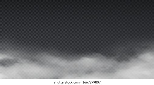 Realistic fog. Atmosphere mist effect and smoke clouds frame isolated on transparent background. Vector dust and soil powder environment, abstract cloud texture
