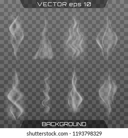 Realistic fog.Smoke vector collection, isolated, transparent background. Delicate white cigarette smoke waves on transparent background vector illustration.