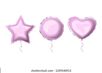 Realistic foil balloons purple color. Set helium foil balloons of different shapes. Metallic air balloons in the form of a heart, a circle, a star. Vector illustration.