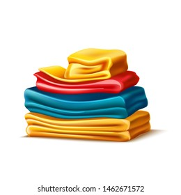 Realistic folded apparel, or towel pile. Colourful tshirts folded after washing. Fresh cotton clothing stack. Vector laundry service design. Soft material bath towels