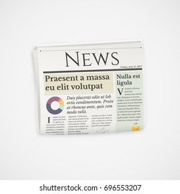 Realistic folded newspaper news vector icon
