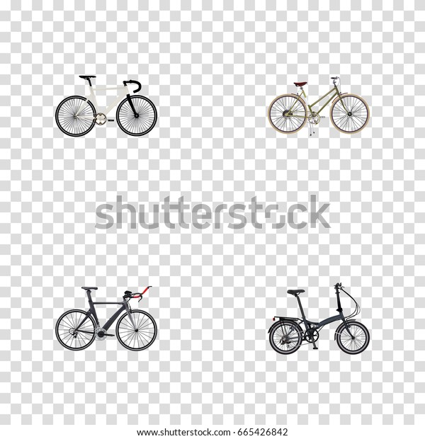Realistic Folding Sport-Cycle, Competition Bicycle, For Girl And Other Vector Elements. Set Of Bicycle Realistic Symbols Also Includes Girl, Bike, Folding Objects.