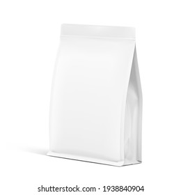 Realistic food bag isolated on white background. Front view. Vector illustration. Can be use for template your design, presentation, promo, ad. EPS 10.