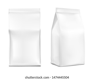Realistic food bags isolated on white background. Front, isometric view. Vector illustration. Can be use for template your design, presentation, promo, ad. EPS 10.