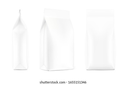 Realistic food bags isolated on white background. Side, isometric and front view. Vector illustration. Can be use for template your design, presentation, promo, ad. EPS 10.