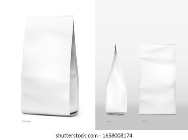 Realistic food bags isolated on white background. Front, side and isometric view. Vector illustration. Can be use for template your design, presentation, promo, ad. EPS 10.