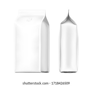 Realistic food bags isolated on white background. Side, isometric view. Vector illustration. Can be use for template your design, presentation, promo, ad. EPS 10.