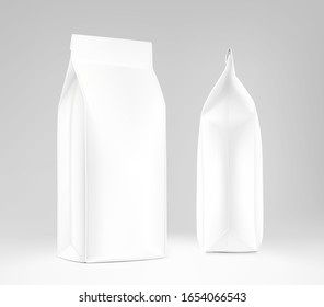 Realistic food bags on grey background. Side, isometric view. Vector illustration. Can be use for template your design, presentation, promo, ad. EPS 10.