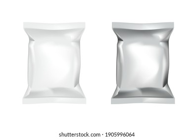 Realistic Food Chips Pillow Package Isolated On White Background. EPS10 Vector