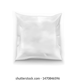 Realistic Food Snack Square Polyethylene Pillow Package. EPS10 Vector