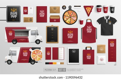 Realistic Food Truck, Pizzeria restaurant lettering logo, Black and Maroon Brand Identity mockup set. Branding bundle of  food truck, pizza box, stationary items, sign, coffee cups, uniform object