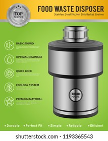 Realistic Food Waste Disposer Poster