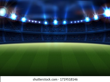 Realistic football field with illumination vector illustration. Audience with fans cartoon design. Championship competition. Soccer and active sport concept