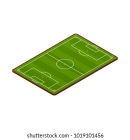 Realistic football field template, playground with green grass and landscapes. Layout, soccer playing field, playground back view, with markings and gates. Vector illustration isolated.