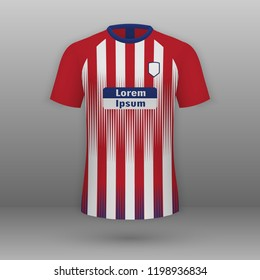Realistic football kit Atletico Madrid, shirt template for soccer jersey. Vector illustration