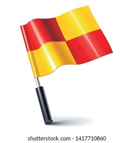 realistic football offside flag icon on white background, vector symbol