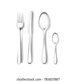 Realistic fork, knife and spoons mockup. Stainless steel, silver kitchenware, flatware. Isolated vector illustration on a white background ready for your design. table setting