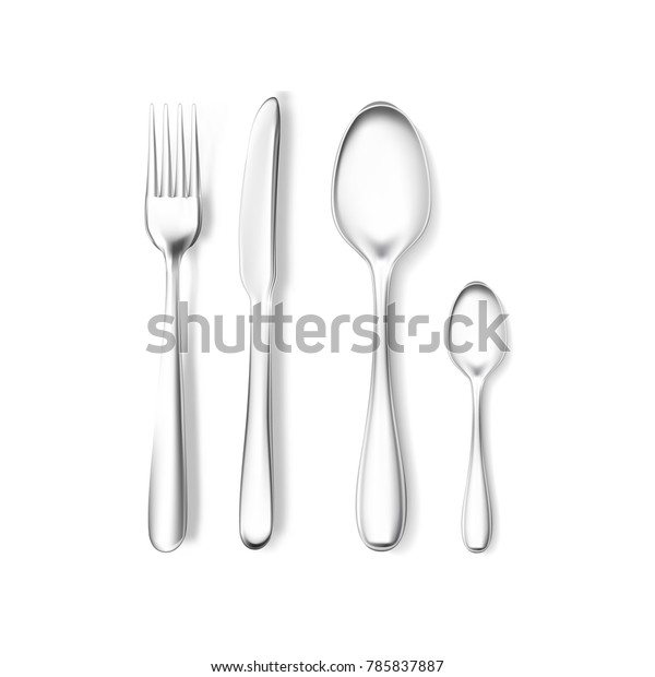 Realistic Fork Knife Spoons Mockup Stainless Stock Vector Royalty